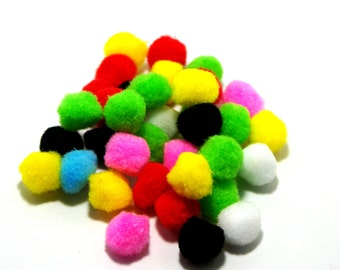 "Pompom Balls: ""COLORFUL POMPOM BALLS"" 15mm 100 pcs multicolor pompom balls for clothing, accessories, pom pom balls T63"