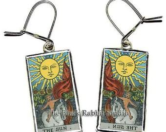 Mystic Tarot Sun Earrings, Sun Earrings, Tarot Earrings, Sun jewelry, Hypoallergenic Earrings
