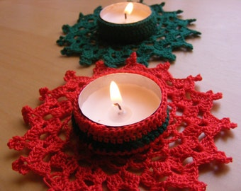 Christmas Crochet Candle Holder PDF Pattern