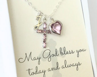 Crystal Cross Pendant - Cross Necklace - Amethyst - February - First Communion Gift - Gift for Goddaughter - Goddaughter Gift - N110