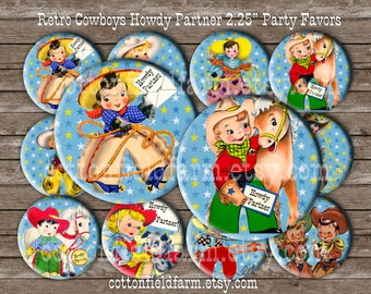 Retro Cowboy and Cowgirl Howdy Partner 2.25 Pinback buttons, Mirrors, or Magnets, Set of 12  for Birthday Party Favors and Gifts