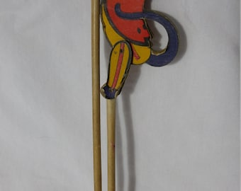 Vintage Cardboard Circus Monkey on a stick - circus memorabilia from te 1930s