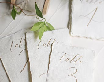 Calligraphy Table Numbers with Handmade Paper