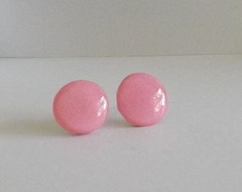 Pink Polymer Clay Stud Earrings, Pink Stud Earrings, Stainless Steel Stud Earrings, Nickel Free, Gift for Her, Gift Under 20 - S3