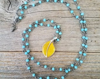 Blue jewelry, leaf jewelry, linked chain necklace, rosary chain, gold leaf, nature jewelry, spring jewelry, beaded necklace, long necklaces