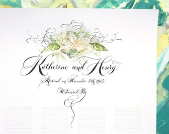 Marriage Certificate, Wedding, Guestbook,  Custom Calligraphy, Hand painted, Sign-in Scroll