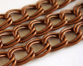 5ft Copper Double Twisted Chain 6x5mm Antique Copper Plated Iron Not Soldered - 5 ft - STR9022CH-AC5