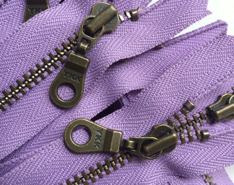 YKK Antique Brass Metal Donut Pull Zippers (5) Pieces - Soft Amethyst 862- 22 inches