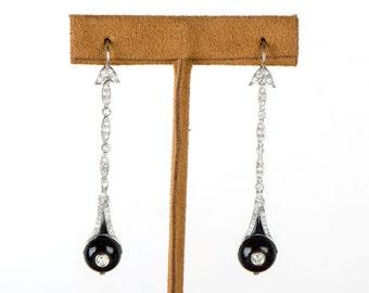 Rare Antique Art Deco Diamond and Onyx Earrings. Circa 1925.
