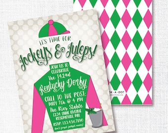 Jockey Derby Party Invitation, Printable, Horse Racing Party Invite, Mint Julep, Jockeys And Juleps, Pink, Green, Horse Birthday, Kentucky