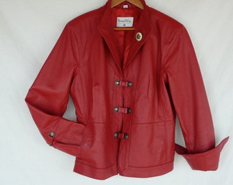 """VINTAGE RED LEATHER Jacket by """"Pamela McCoy"""" A friend of mine gave me two matching Jackets,I wear the Black one a lot! It's soft,cozy-warm"""