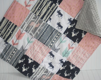 baby quilt- woodland baby girl quilt- navy baby quilt- baby girl bedding-minky baby quilt- arrow baby quilt- moose baby quilt- pink and navy