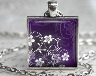 Aubergine Floral Pendant, Necklace or Key Chain - Choice of Silver, Bronze, Copper or Black - Purple Flower Necklace
