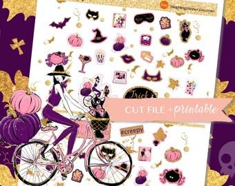 HALLOWEEN PLANNER STICKERS, witch planner stickers, Chic Halloween stickers,  printable stickers halloween,