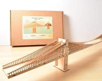 Brooklyn Bridge Model Kit, 4' Long, Large Wood Model Kit, New York City, Assembly Required