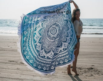 Bohemian Mandala Tapestry Blue Boho Roundie Mandala Tapestry Throw Mandala Wall Hangings  XL Circle Towel