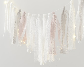 Crochet ribbon Tassel Garland - fabric banner/ Nursery Birthday Baptism Children party Decor Photo Prop wedding backdrop/room decor