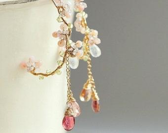Cherry Blossoms Earrings, Pink Tourmaline Chandelier Hoop, Sakura Wedding Japanese Jewelry