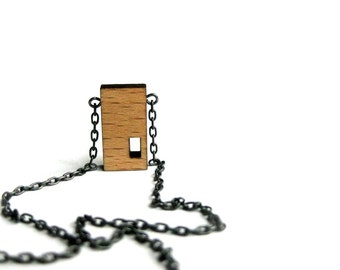 tiny punchout necklace in beech