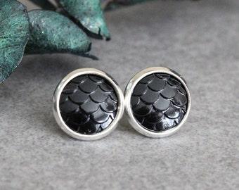 Black Mermaid Earrings, Black Scale Earrings, Black Fish Scale Earrings, Black Stud Earrings, Dragon Scale Earrings, Black Mermaid Earrings
