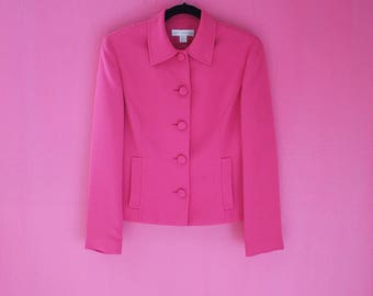 Retro 80s Does Mod Hot Pink Fitted Blazer Jacket