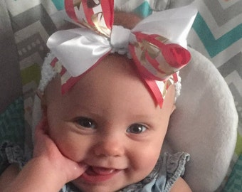 Bow Crown, Gold White Striped (Hair Bow Attached by Band, Newborn-3 Yrs)