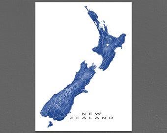 New Zealand Map, Landscape Art, New Zealand Print, Wellington