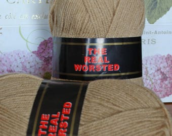 Real Worsted from SRKertzer 100% Polyester Knitting Worsted Yarn --  220 Yards (201 Meters), 100g (3.5 oz) Skein, Camel Colour
