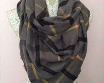 Gray with yellow and black plaid flannel Blanket scarf