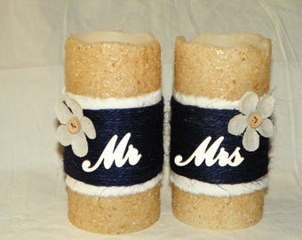"LED Flameless Candle, Mr & Mrs 6"" Textured TIMER PILLAR Candles, Battery Operated, Wedding Gift, Navy Blue, Beige and Burlap Flower"