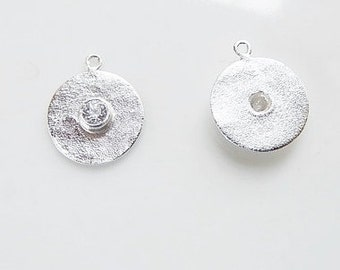 2 pcs Sterling silver  hammered Round charms with cz (10x12mm),.925 stamped,