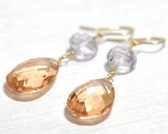 Champagne Quartz & Pink Amethyst Earrings, Champagne Quartz Earrings, Large stone Earrings, Pink amethyst Earrings, Gift For Her,