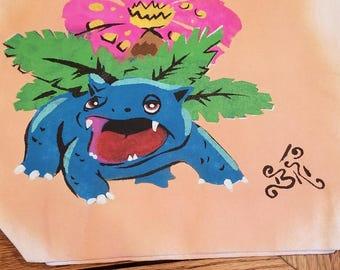 Handpainted Venusaur Pokemon Tote Bag