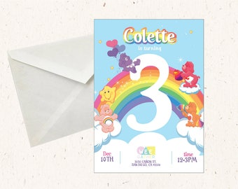 Care Bear Party kit - Custom Invitation, Party Tags and 8x10 Party sign