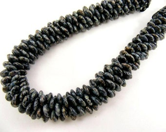 Black and Gray Necklace, Hammered Silver, Statement Chunky Beaded Handwoven Rope