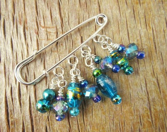 Blue Shawl Pin - Sweater Pin Brooch - Beaded  Scarf Pin