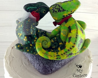 Veiled Chameleons Wedding Cake Topper