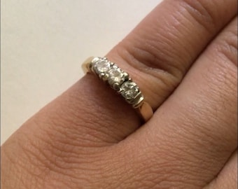 14k Past Present Future Diamond Ring
