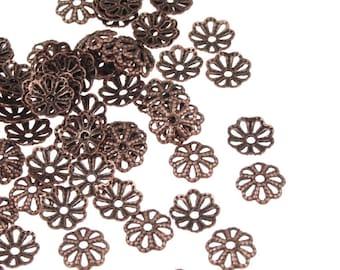 144 Copper Beadcaps - 6mm Antique Copper Bead Caps - 6mm Filigree Caps - Aged Dark Solid Copper Metal Beads (FSAC51)