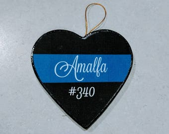 Personalized Police Ornament | Thin Blue Line Ornament | Personalized Police Officer Ornament |