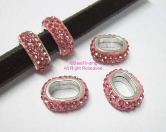 6pcs Pink licorice rhinestone pave sliders 10x6mm Licorice leather findings