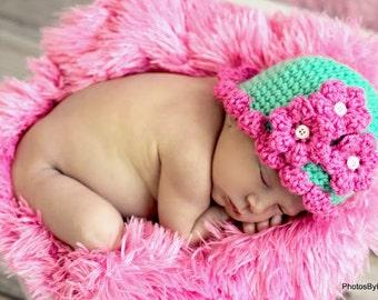 Baby Hat Easy CROCHET PATTERN Beginner Beanie Pretty Petal in 5 sizes 0-10 years