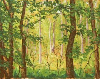 Original landscape oil painting - Light in the Woods
