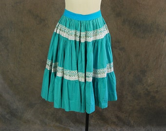 vintage 50s Circle Skirt - Turquoise and Silver Patio Skirt 1950s Country Western Skirt Sz L