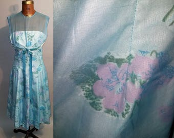 Vintage 1960's Got The Blues 60's Baby Blue Floral Sheer Cotton A-Line Womens Party Dress - S
