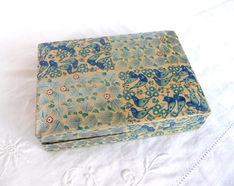 Vintage Kashmiri box - blue papier mache box - Indian papier mache box - vintage Indian trinket box - blue bird Kashmiri box