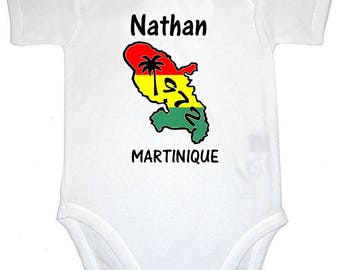 Bodysuit Martinique map personalized with name