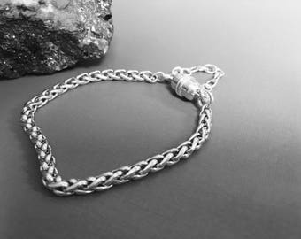 935 Argentium 4mm THICK Wheat Chain Bracelet Natural shiny with choice of Clasp and Length 6, 6.5,  7, 7.5, 8, 8.5,  9, 9.5, 10