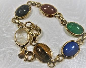 Gold Filled  Carved Glass Scarab Bracelet, Link Bracelet with Hieroglyphics, Bezel Set Scarab Bracelet,  Assorted Colors, 1940's