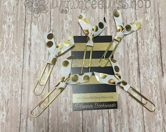 White and Gold Ribbon Bookmarks, gold planner accessory, gold silly dot bookmark, grosgrain ribbon, Filofax tab, life planner, party wedding
